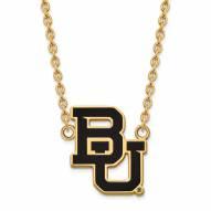 Baylor Bears Sterling Silver Gold Plated Large Enameled Pendant Necklace