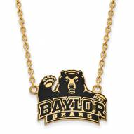 Baylor Bears Sterling Silver Gold Plated Large Enameled Pendant Necklace