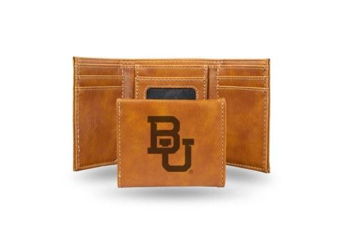 Baylor Bears Laser Engraved Brown Trifold Wallet