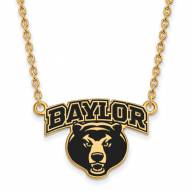 Baylor Bears NCAA Sterling Silver Gold Plated Large Enameled Pendant Necklace