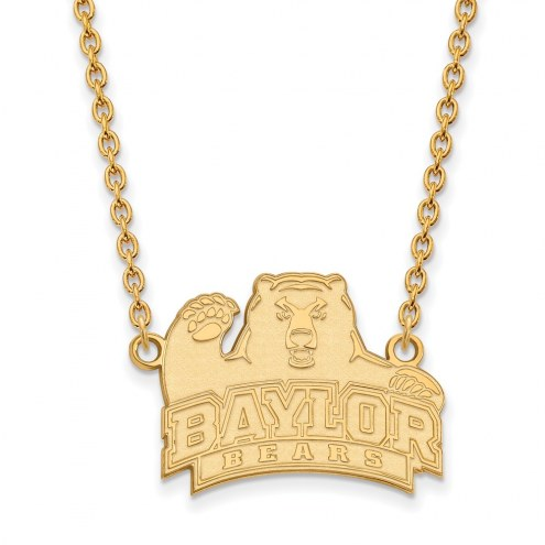 Baylor Bears NCAA Sterling Silver Gold Plated Large Pendant Necklace