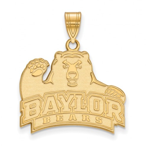 Baylor Bears NCAA Sterling Silver Gold Plated Large Pendant
