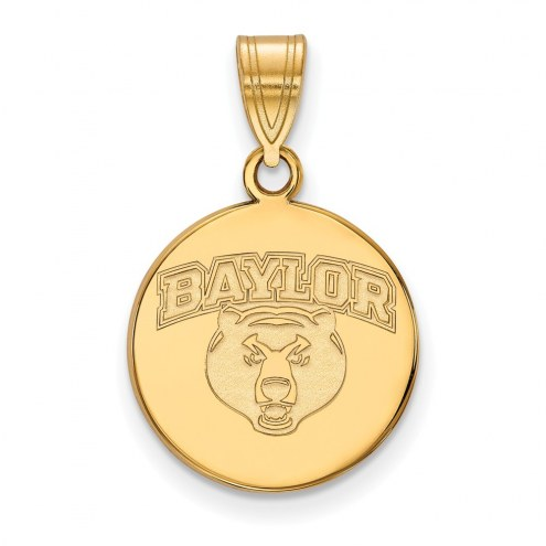 Baylor Bears NCAA Sterling Silver Gold Plated Medium Disc Pendant
