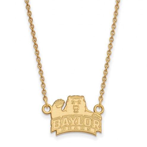 Baylor Bears NCAA Sterling Silver Gold Plated Small Pendant Necklace