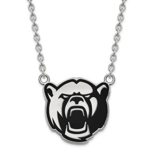 Baylor Bears NCAA Sterling Silver Large Enameled Pendant Necklace