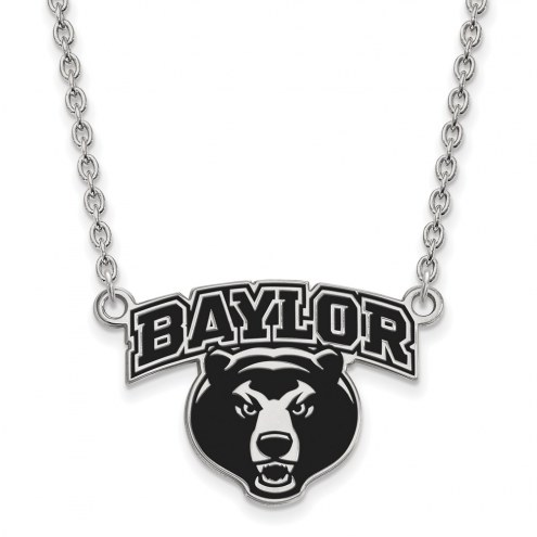 Baylor Bears NCAA Sterling Silver Large Enameled Pendant Necklace