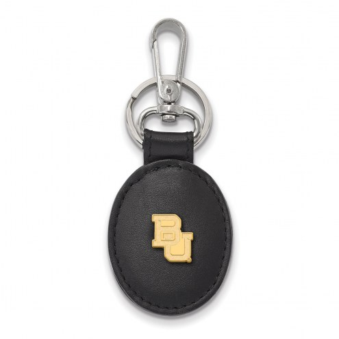 Baylor Bears Sterling Silver Gold Plated Black Leather Key Chain