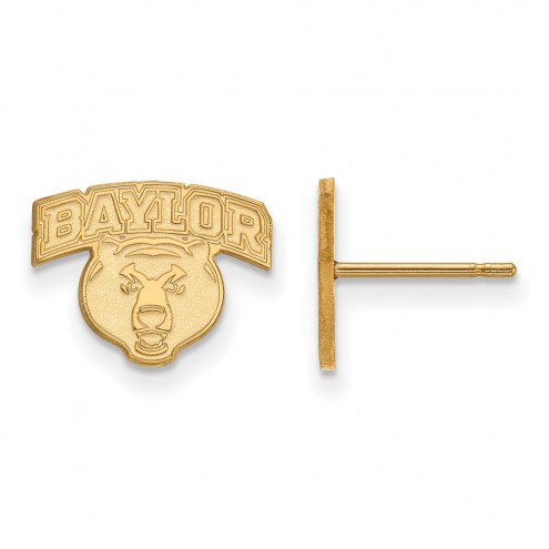 Baylor Bears Sterling Silver Gold Plated Extra Small Post Earrings