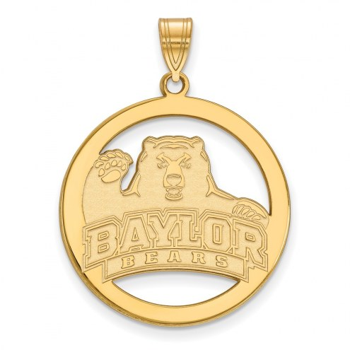 Baylor Bears Sterling Silver Gold Plated Large Circle Pendant
