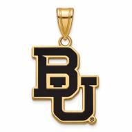 Baylor Bears Sterling Silver Gold Plated Large Enameled Pendant