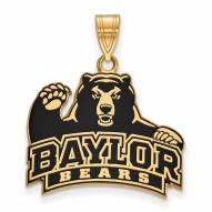 Baylor Bears Sterling Silver Gold Plated Large Enameled Pendant