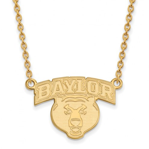 Baylor Bears Sterling Silver Gold Plated Large Pendant Necklace