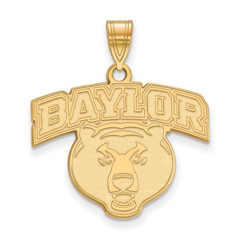 Baylor Bears Sterling Silver Gold Plated Large Pendant