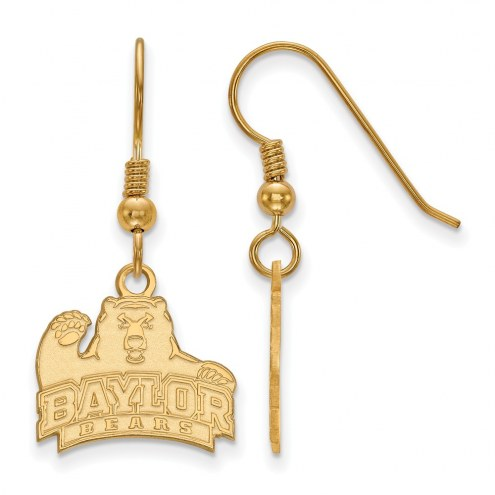 Baylor Bears Sterling Silver Gold Plated Small Dangle Earrings