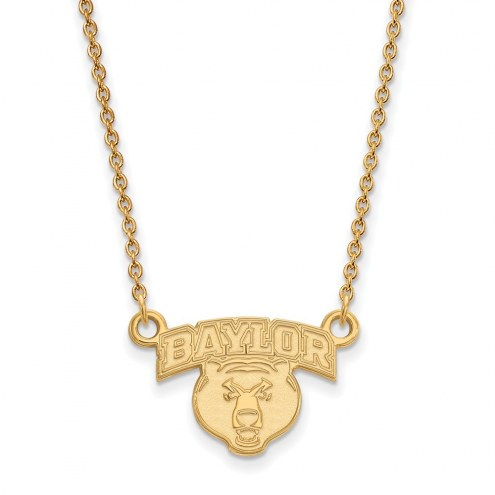 Baylor Bears Sterling Silver Gold Plated Small Pendant Necklace