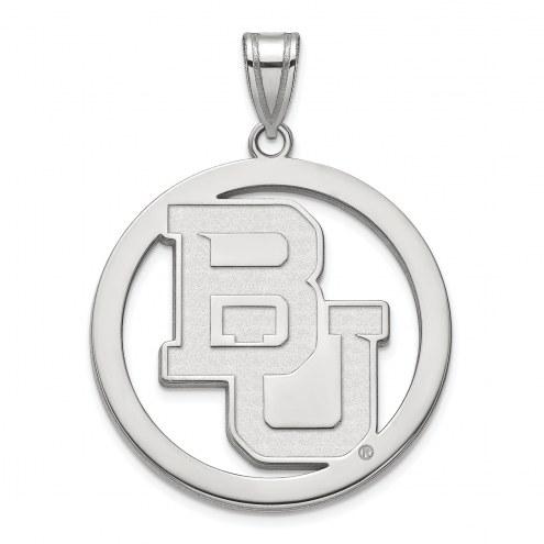 Baylor Bears Sterling Silver Large Circle Pendant