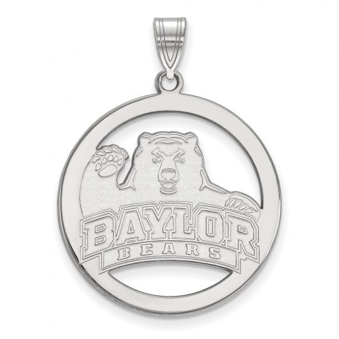 Baylor Bears Sterling Silver Large Circle Pendant