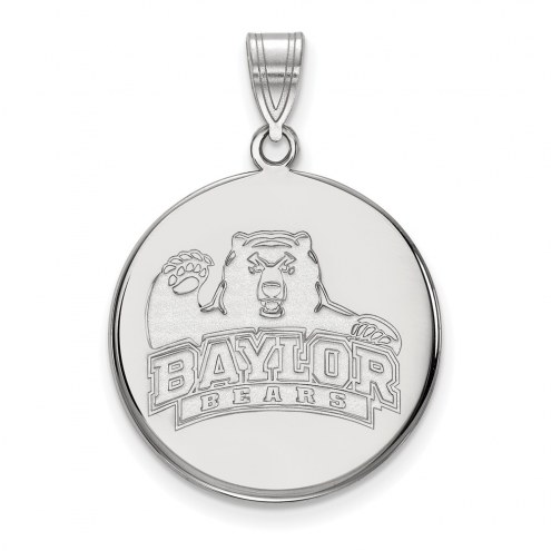 Baylor Bears Sterling Silver Large Disc Pendant