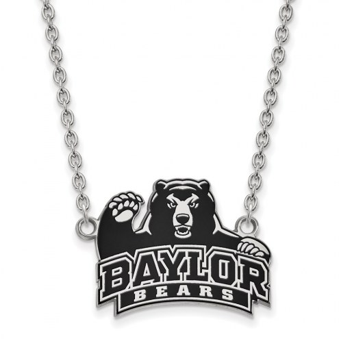 Baylor Bears Sterling Silver Large Enameled Pendant Necklace