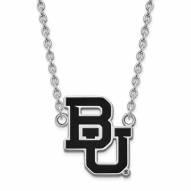Baylor Bears Sterling Silver Large Enameled Pendant Necklace
