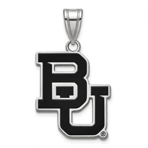 Baylor Bears Sterling Silver Large Enameled Pendant
