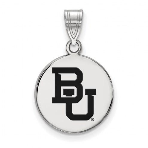Baylor Bears Sterling Silver Medium Enameled Disc Pendant