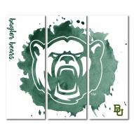 Baylor Bears Triptych Watercolor Canvas Wall Art