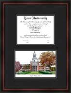 Baylor University Diplomate Framed Lithograph with Diploma Opening