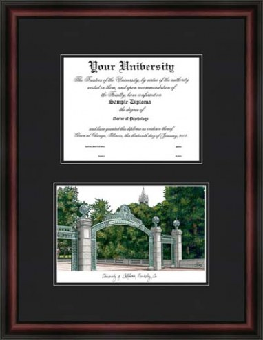University of California Berkley Diplomate Framed Lithograph with Diploma Opening
