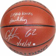 """Bernard King/Carmelo Anthony Dual Signed I/O NBA Brown Basketball w/ """"62 1/24/14"""" By Anthony and """"Legends Knicks"""" By King"""