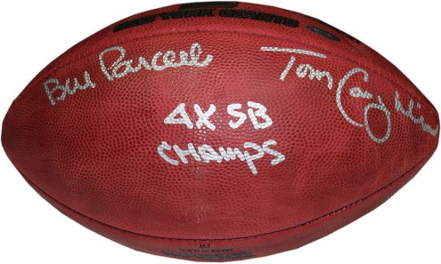 "Bill Parcells/Tom Coughlin Dual Signed Special Edition Gold Foil 4 SB Logo Football w/ ""4X SB Champs"" insc"