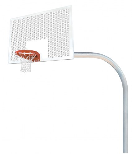 "Bison 5 9/16"" x 8' Mega Duty 42"" x 72"" Perforated Steel Playground Basketball Hoop"