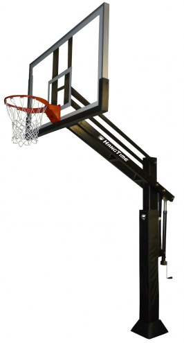 """Bison Ultimate HangTime 6"""" Adjustable Basketball System with 42"""" x 72"""" Clear Glass Backboard"""