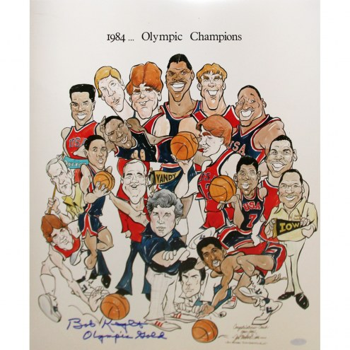 "Bob Knight 1984 Olympic Champions Cartoon w/ ""Olympic Gold"" Signed 16"" x 20"" Photo"