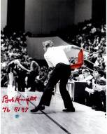 """Bob Knight Signed Throwing Chair B&W w/ Red Chair 11 x 14 Photo w/ """"76 81 87"""""""