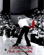 """Bob Knight Signed Throwing Chair B&W w/ Red Chair 8 x 10 Photo w/ """"I Killed The Ref"""""""