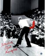 """Bob Knight Signed Throwing Chair B&W w/ Red Chair 8 x 10 Photo w/ """"To The Ref"""""""