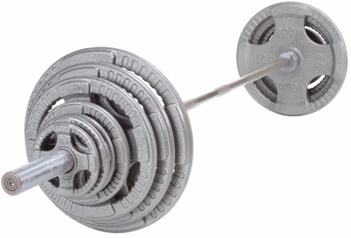 Body Solid 300 lb Cast Iron Quad-Grip Olympic Set with Chrome Bar