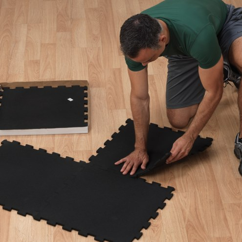 Body Solid 4 Piece Black Super Lock Rubber Floor  Mat