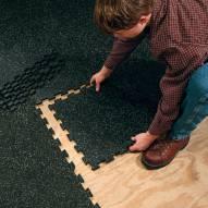 Body Solid 4 Piece Gray Speck Super Lock Rubber Floor Mat