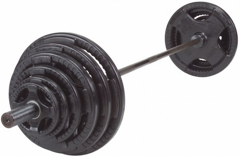 Body Solid Black 255 lb Rubber Grip Olympic Plate Set
