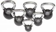 Body Solid Chrome Handle/Rubberized Kettle Bell - Set 5-30 lb Singles