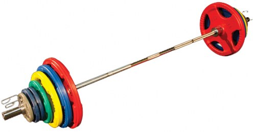 Body Solid Colored 255 lb Rubber Grip Olympic Plate Set