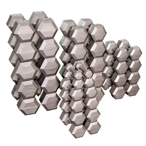 Body Solid Grey Hex Dumbell Set - 55-75 lb pairs