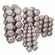 Body Solid Grey Hex Dumbell Set - 80-100 lb pairs