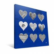 "Boise State Broncos 12"" x 12"" Hearts Canvas Print"