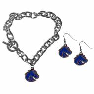 Boise State Broncos Chain Bracelet & Dangle Earring Set
