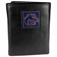 Boise State Broncos Deluxe Leather Tri-fold Wallet in Gift Box