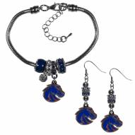 Boise State Broncos Euro Bead Earrings & Bracelet Set