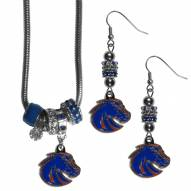 Boise State Broncos Euro Bead Earrings & Necklace Set